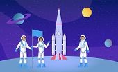Space Exploration, Expedition Flat Vector Illustration. Young Astronauts With Flag, People In Pressu poster