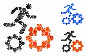 Runner Treatment Process Gears Mosaic Of Small Circles In Variable Sizes And Color Tones, Based On R poster