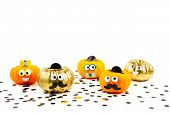 Funny Pumpkins With Googly Eyes Over The White Background. Funny, Halloween Celebration Concept poster