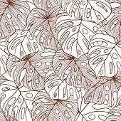 Постер, плакат: Векторные иллюстрации листья пальмы Бесшовные шаблон