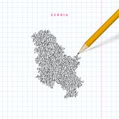 Serbia Sketch Scribble Map Drawn On Checkered School Notebook Paper Background. Hand Drawn Vector Ma poster