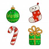 Kawaii Christmas Characters, Set For New Year Decoration, Cute Objects - Sock, Stocking, Gift Box Wi poster