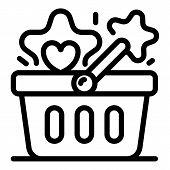 Bonus Market Basket Icon. Outline Bonus Market Basket Vector Icon For Web Design Isolated On White B poster