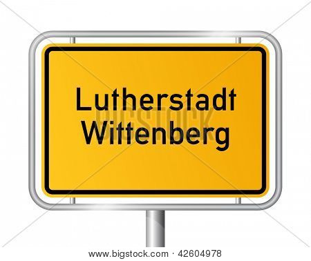 City limit sign Lutherstadt Wittenberg against white background - signage - Saxony Anhalt, Sachsen Anhalt, Germany