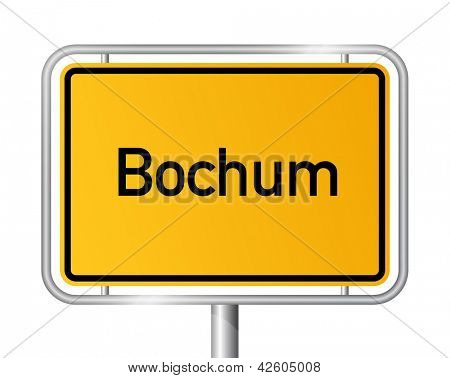 City limit sign Bochum against white background - signage - North Rhine Westphalia, Nordrhein Westfalen, Germany