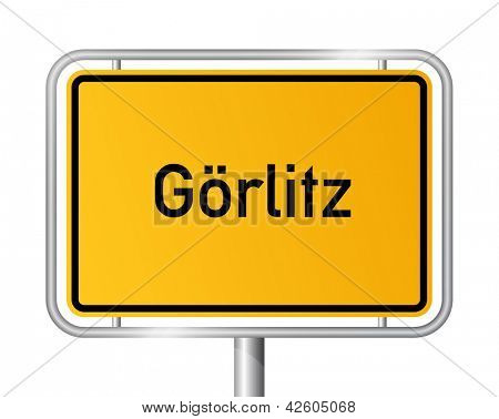 City limit sign Goerlitz against white background - signage - Saxony - G�¶rlitz, Sachsen, Germany