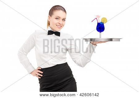 A waitress with bow tie holding a tray with cocktail on it tray isolated on white background