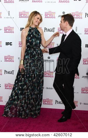 LOS ANGELES - FEB 23:  Leslie Bibb, Sam Rockwell attend the 2013 Film Independent Spirit Awards at the Tent on the Beach on February 23, 2013 in Santa Monica, CA