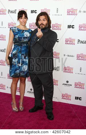 LOS ANGELES - FEB 23:  Tanya Haden, Jack Black attend the 2013 Film Independent Spirit Awards at the Tent on the Beach on February 23, 2013 in Santa Monica, CA