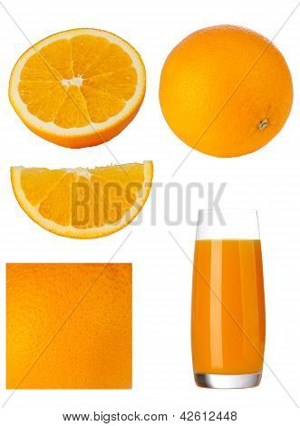 Orange Set. Slice, Orange Juice, Part Orange, Orange Peel.