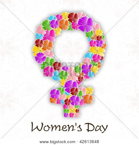 Happy Women's Day background with flowers decorated feminine symbol.