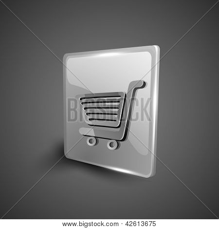 Glossy 3D web 2.0 shopping cart symbol icon set. EPS 10.