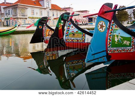 Detail Of Traditional Moliceiro Boats In Aveiro, Portugal