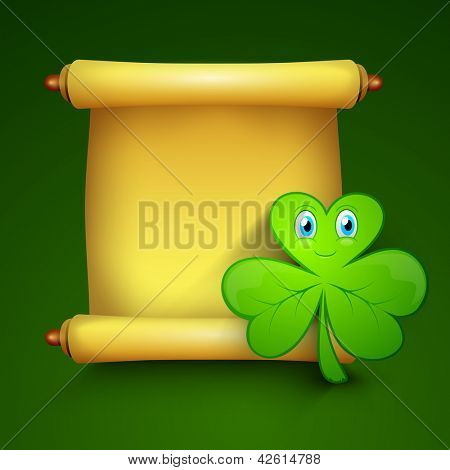 Shamrock leave with golden blank banner for your message, St. Patrick's Day background. EPS 10.