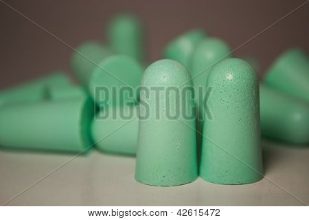 Ear plugs on white