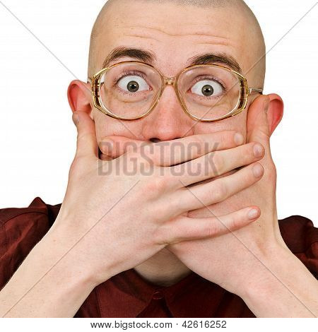 Emotional Excited Man  Keep His Mouth Closed