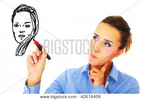 A picture of a young woman drawing her self-portrait over white background
