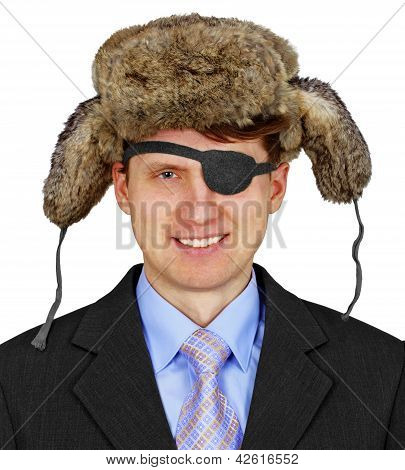 Russian Pirate In Business - Isolated On White Background