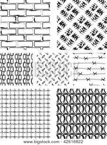 Grunge style seamless repeat patterns. Use as fills, digital paper, or to enhance existing photos/vectors by using as masks or overlays.