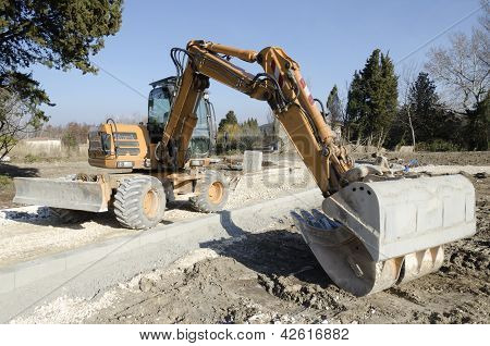 backhoe on a construction site