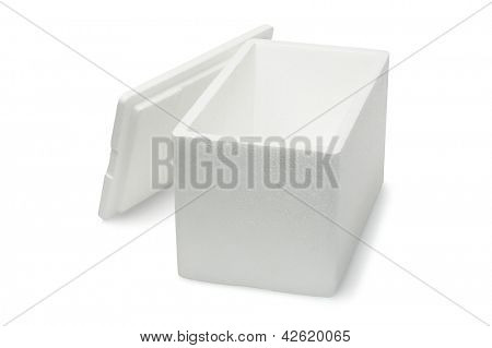 Open Styrofoam Storage Box on White Background