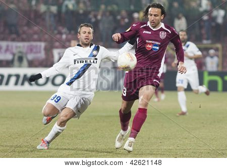 CLUJ-NAPOCA, ROMANIA - FEBRUARY 21: Antonio Cassano and Felice Piccolo in UEFA Europa League match, CFR 1907 Cluj vs UInter Milan, on 21 February, 2013 in Cluj-Napoca, Romania