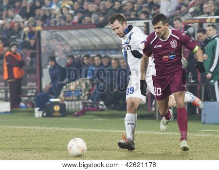 CLUJ-NAPOCA, ROMANIA - FEBRUARY 21: Antonio Cassano and Cadu in UEFA Europa League match, CFR 1907 Cluj vs UInter Milan, on 21 February, 2013 in Cluj-Napoca, Romania