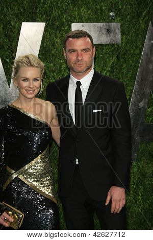 WEST HOLLYWOOD, CA - FEB 24: Naomi Watts, Liev Schreiber at the Vanity Fair Oscar Party at Sunset Tower on February 24, 2013 in West Hollywood, California