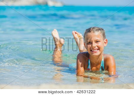 Young girl in the sea