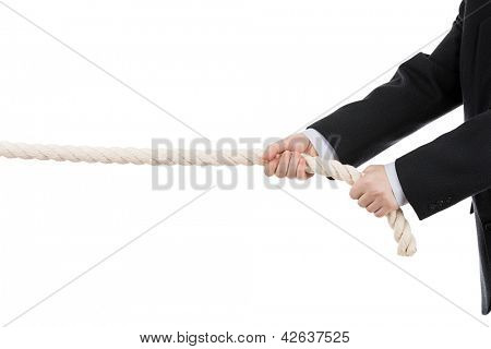 Competition concept - business man in black suit hand holding or pulling rope white isolated