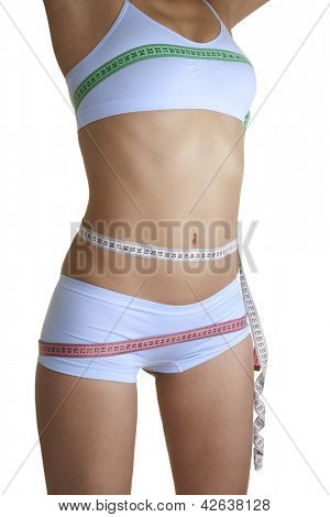 Woman measuring her Waist, isolated on white background