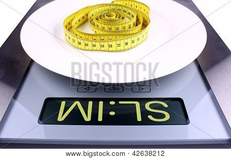 Digital Scale With Slim Ad. Weight Concept.