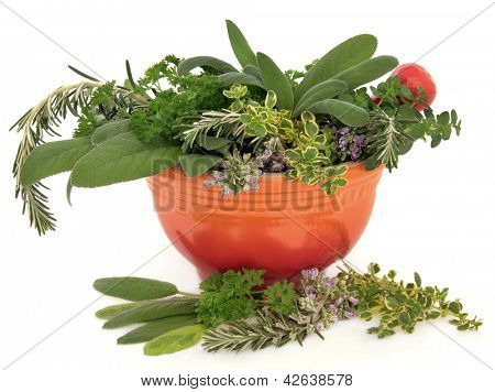 Parsley, sage, rosemary and thyme herb  leaf and flower sprigs in a red mortar with pestle over white background.