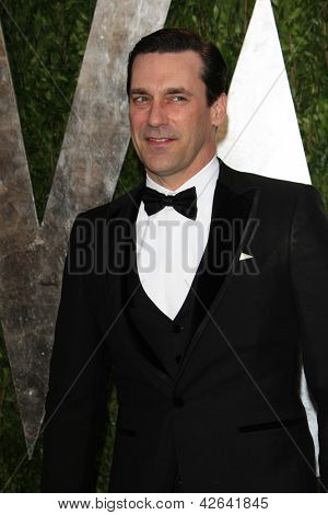 WEST HOLLYWOOD, CA - FEB 24: Jon Hamm at the Vanity Fair Oscar Party at Sunset Tower on February 24, 2013 in West Hollywood, California