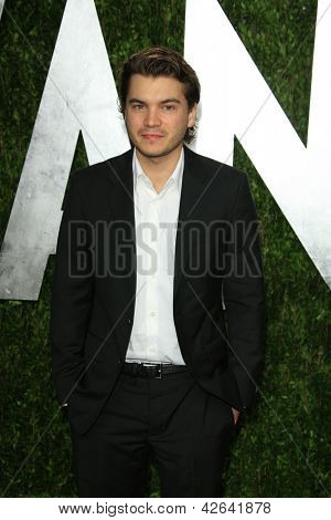 WEST HOLLYWOOD, CA - FEB 24: Emile Hirsch at the Vanity Fair Oscar Party at Sunset Tower on February 24, 2013 in West Hollywood, California