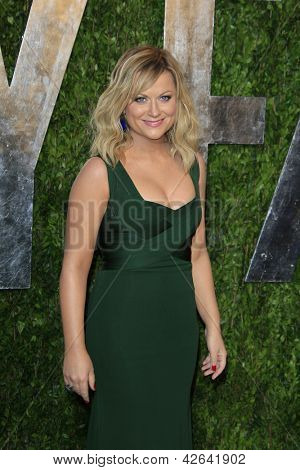 WEST HOLLYWOOD, CA - FEB 24: Amy Poehler at the Vanity Fair Oscar Party at Sunset Tower on February 24, 2013 in West Hollywood, California