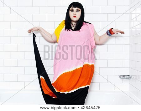 LONDON, UK - JANUARY 01, 2012: beth ditto portrait of the pop group gossip in a bathroom at London, UK on january 1st, 2012