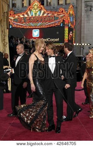 LOS ANGELES - FEB 24:  Nicole Kidman, Keith Urban arrive at the 85th Academy Awards presenting the Oscars at the Dolby Theater on February 24, 2013 in Los Angeles, CA