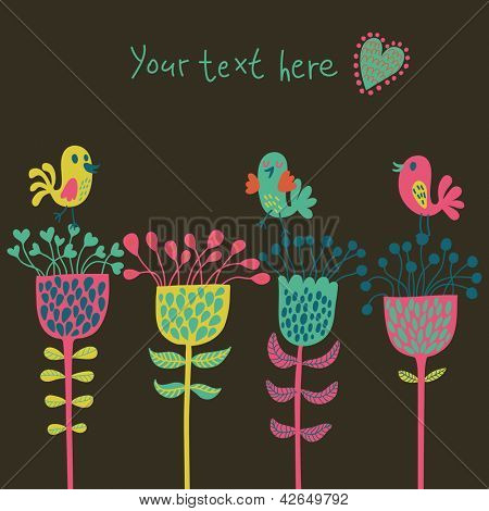 Simple stylish cartoon card. Cute birds on flowers in bright colors