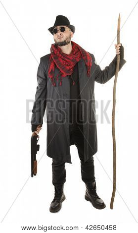 Vampire hunter with red scarf, hawthorn stake and shotgun