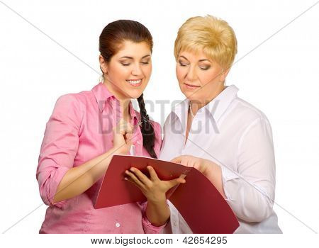 Senior and young women with notebook isolated