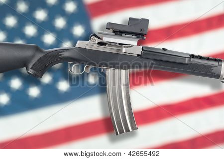 Assault Rifle On Flag