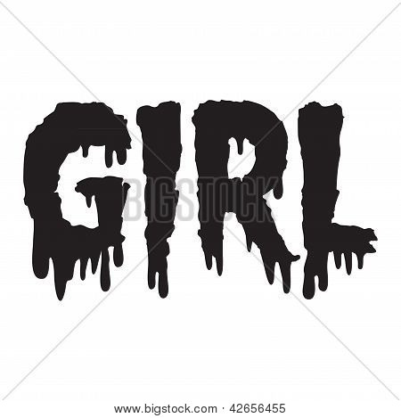 Vector drippy girl text in black