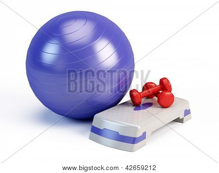Fitness ball, weights and fitness step board