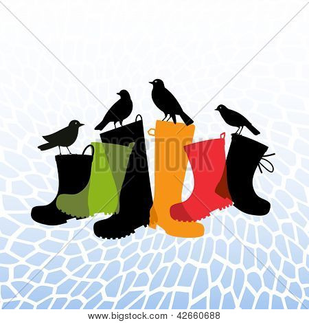 black birds resting on rubber rainboots