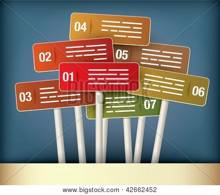 Presentation Diagram with seven different colored signpost
