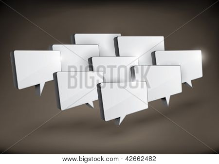 Various 3D rectangular speech bubbles arranged in a group.