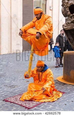 Indian Fakirs In Street Performance