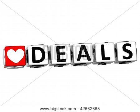 3D Love Deals Button Click Here Block Text