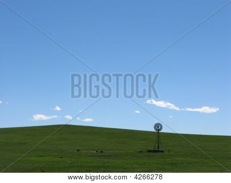 Windmill On Green Hill